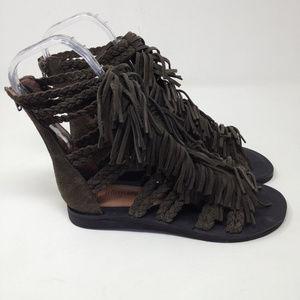 32b4a1d7671e Jeffrey Campbell Shoes - Jeffrey Campbell Santana Fringe Gray Suede Sandals